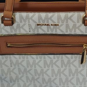 Michael Kor tan white purse